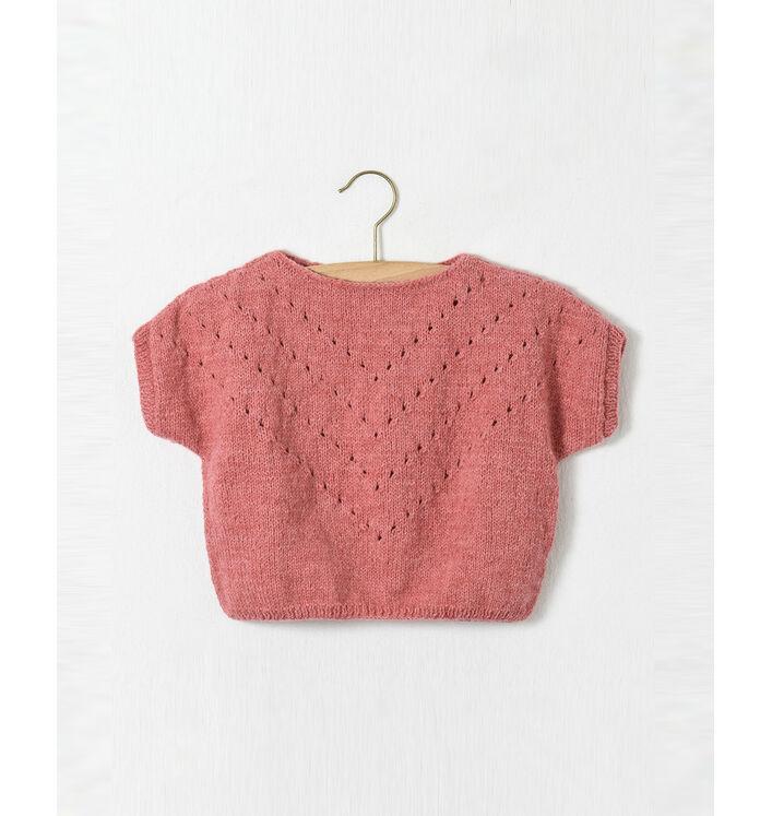 Modèle enfant - Pull ajouré framboise