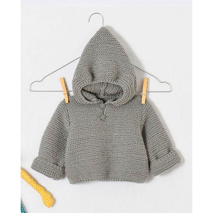 Modèle layette - Pull à capuche en laine