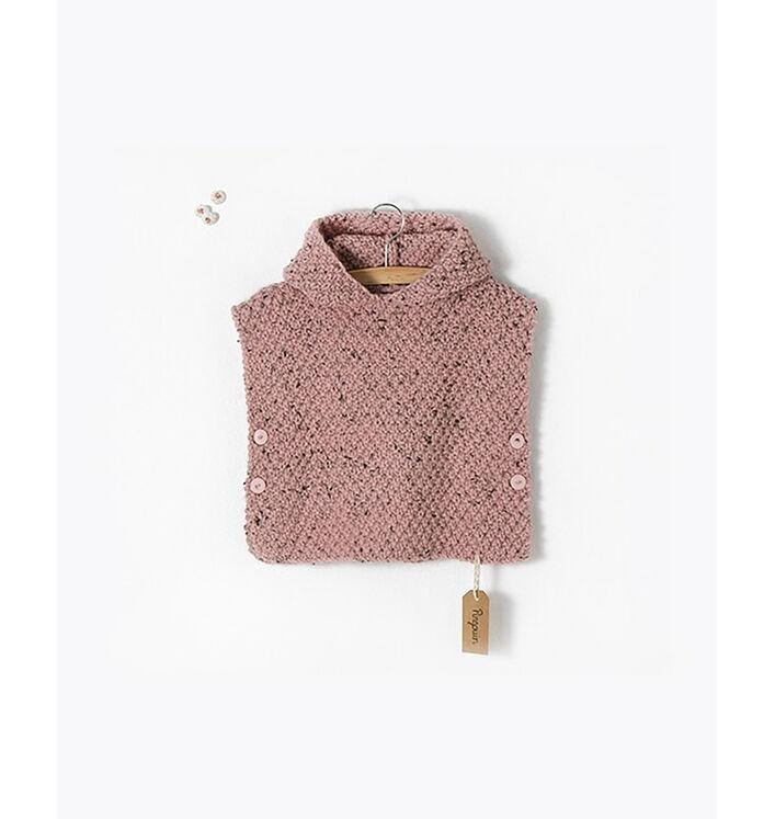 Modèle enfant - Poncho tweedé rose