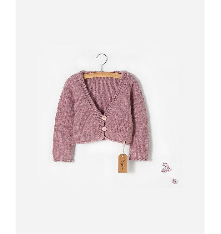 Modèle enfant - Cardigan boutonné rose