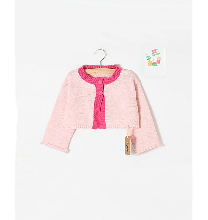 Modèle enfant - Cardigan rose Esterel