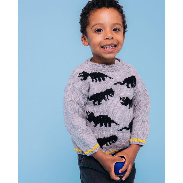 Modèle enfant - Pull dinosaure gris