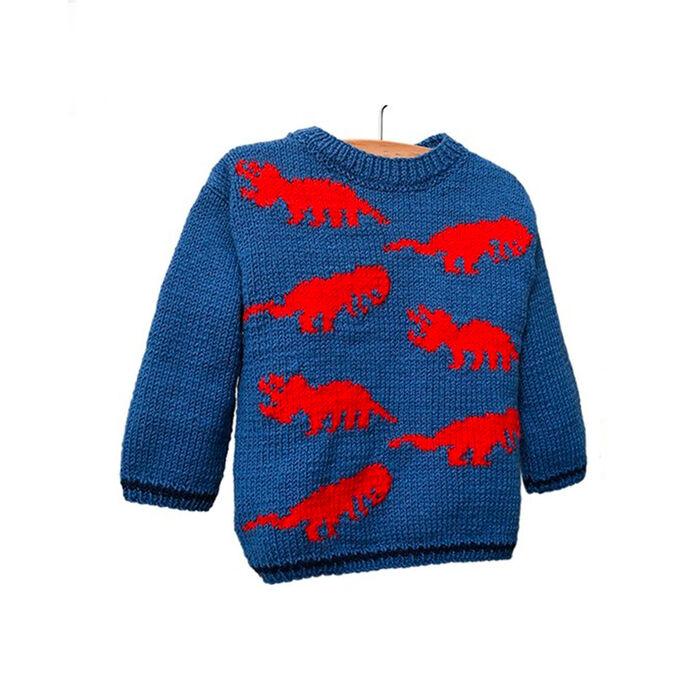 Modèle enfant - Pull dinosaure bleu