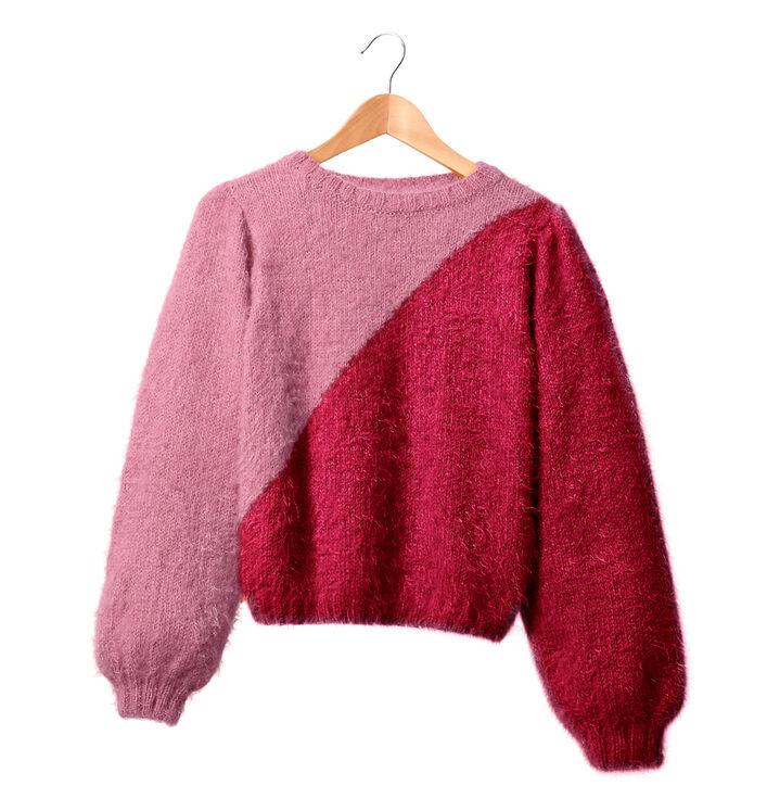 Modèle femme - Pull bicolore rose Tanya