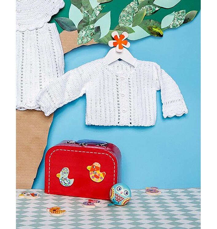 Modèle layette - Cardigan court blanc