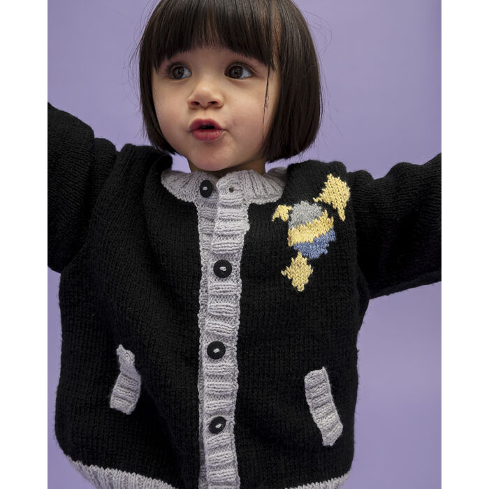 Fiche Modèle enfant - Gilet jacquard fusée