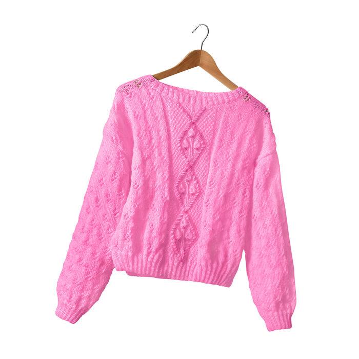 Modèle femme - Pull rose vif Linaé