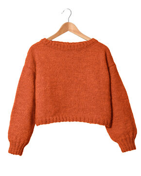 Modèle Femme - Pull orange Tiléo