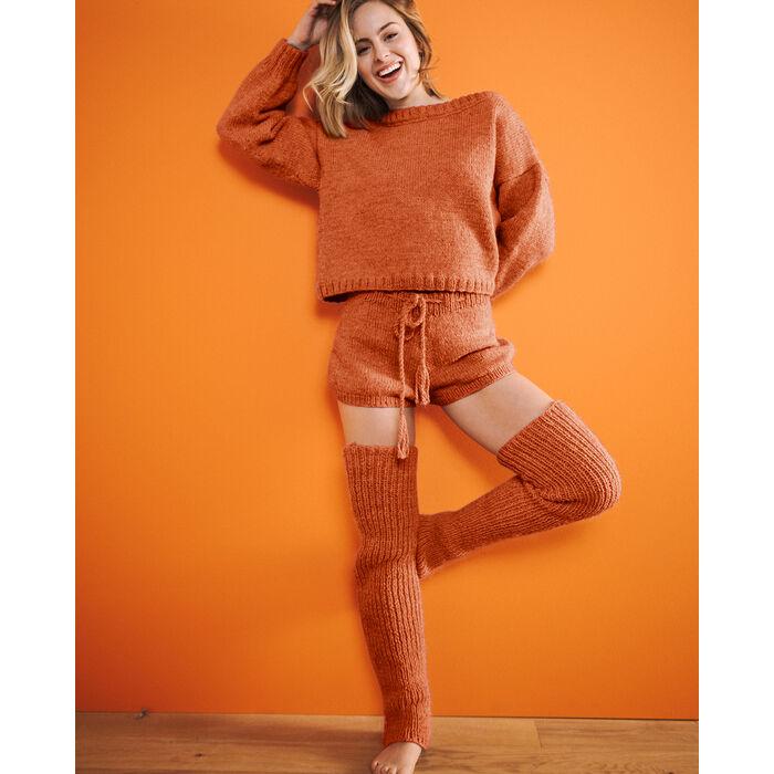 Fiche Modèle Femme - Pull orange Tiléo