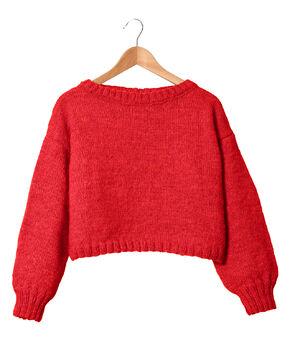 Modèle femme - Pull rouge Tiléo