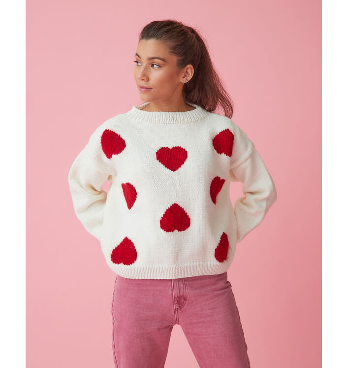 Modèle femme - Pull brodé coeur Corazon