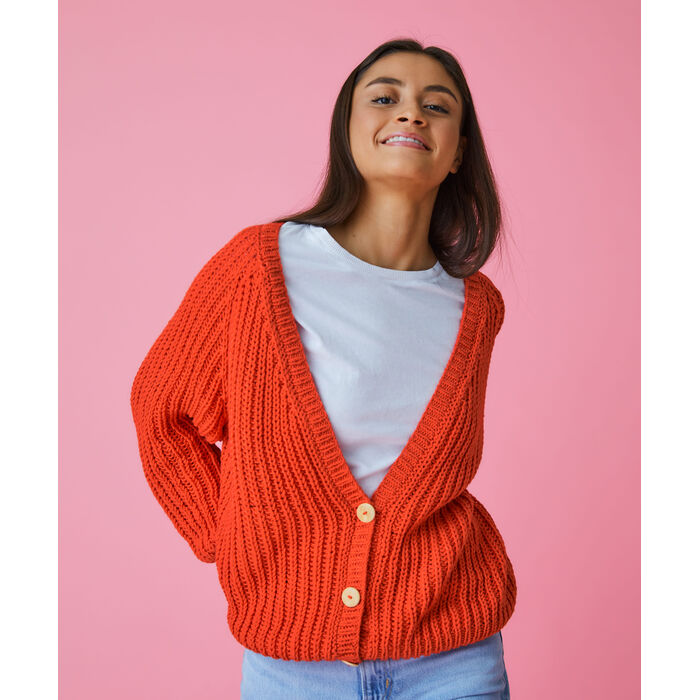 Modèle Femme - Gilet Astrid rouge