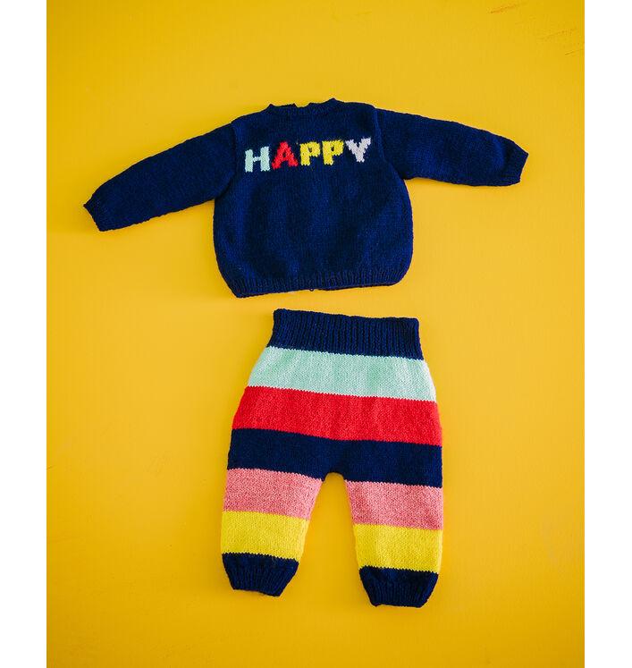 Modèle Layette -Pantalon+Brassière Happy