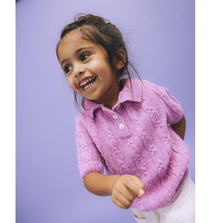 Modèle Enfant - Pull Girly Rose Vif