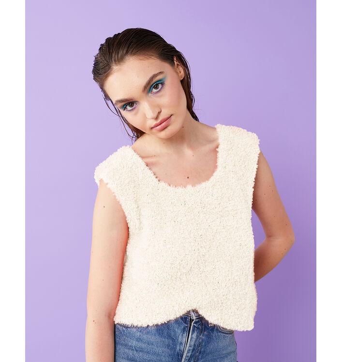 Modèle Femme - Pull Elisa Ecru