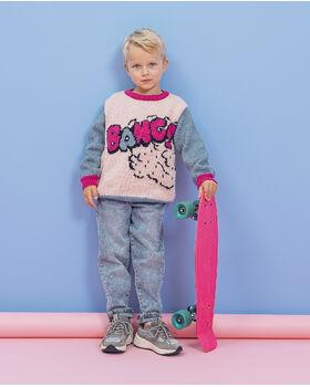 Modèle Enfant - Pull Bang Denim Fuchsia