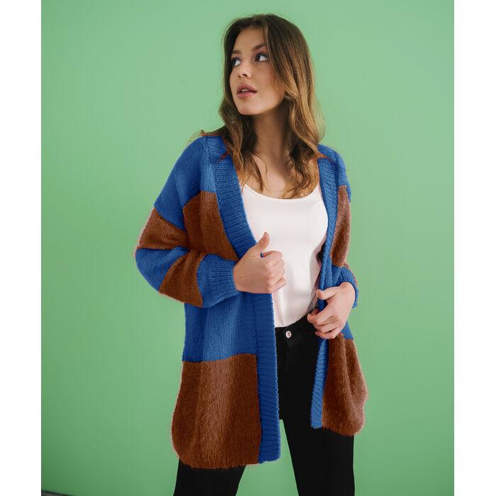 Modèle Femme - Gilet Jake Bleu/Cognac